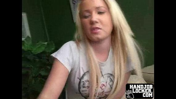 College blonde chick plays with dick