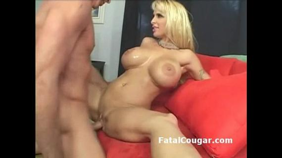 Hung guy drills big boob milf in highheels then lets her suck his big stick