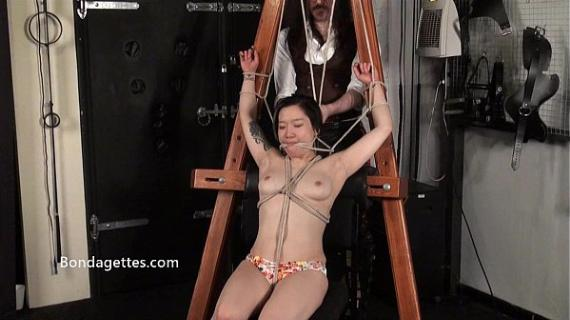 Asian bondage babe Devil and japanese damsel in distress tied to the dungeon