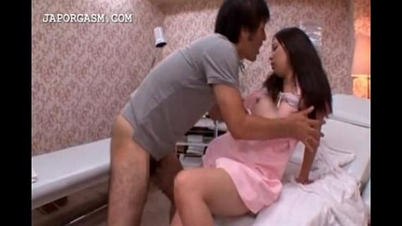 Lustful japanese taking horny dick from her back